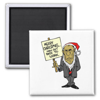 Now Get Back To Work Christmas Boss 2 Inch Square Magnet