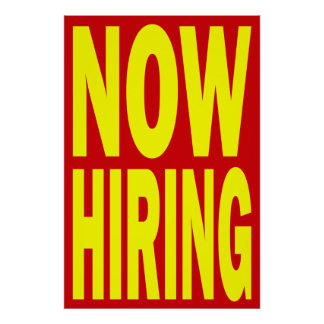 NOW HIRING RETAIL POSTER SIGN