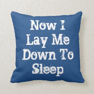 Now I Lay Me Down To sleep, blue throw pillow. Throw Pillow