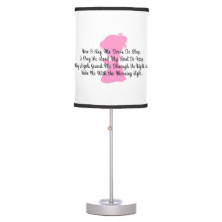 Now I Lay Me Down to Sleep Little Girl Table Lamps