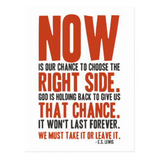Now is Our Chance to Choose the Right Side Postcard