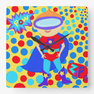 Now it is Time to be a Superhero Square Wall Clock