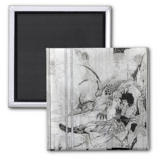 Now King Arthur saw the Questing Beast 2 Inch Square Magnet