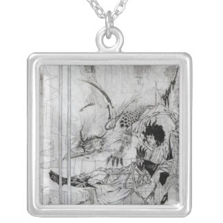 Now King Arthur saw the Questing Beast Square Pendant Necklace