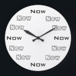 """Now Large Clock<br><div class=""""desc"""">Time is an artificial construct so I made a clock that always says Now is the time.  I can also reverse the colors so email me if you want a black clock with white lettering,  or any color you wish.</div>"""