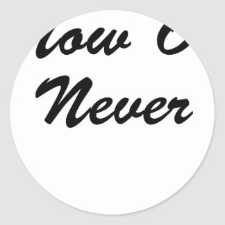 Now Or Never Classic Round Sticker