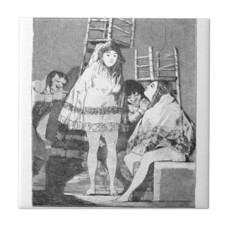 Now they are sitting well by Francisco Goya Ceramic Tile