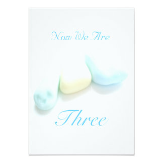 Now We Are Three 5x7 Paper Invitation Card