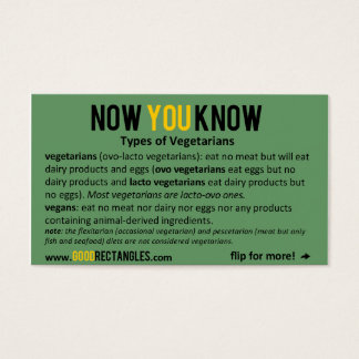 NOW YOU KNOW - Vegetarians Business Card