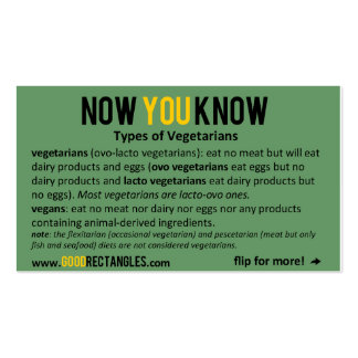NOW YOU KNOW - Vegetarians Business Cards