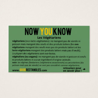 NOW YOU KNOW - Végétariens (French) Business Card
