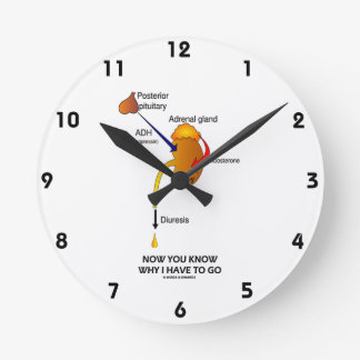 Now You Know Why I Have To Go (Diuresis) Round Wall Clock