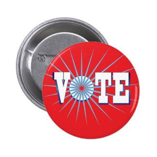 NowPower • VOTE ! Button, round/red Pinback Button