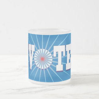NowPower • VOTE Frosted Glass Mug, blue