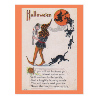 Now's the Time, Never Too Late Halloween Vintage Postcard