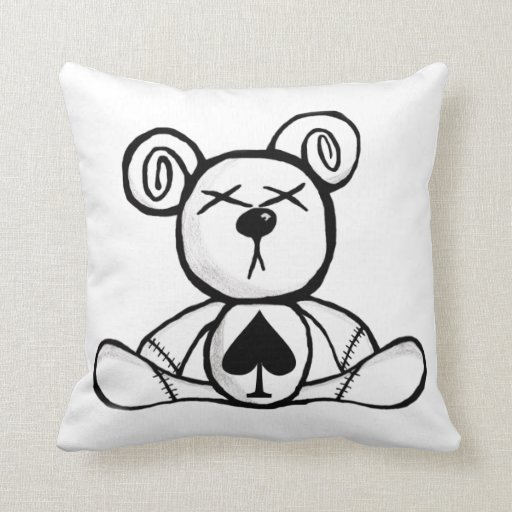 Noxious Teddies - Card Suit Bear - Spades Throw Pillows