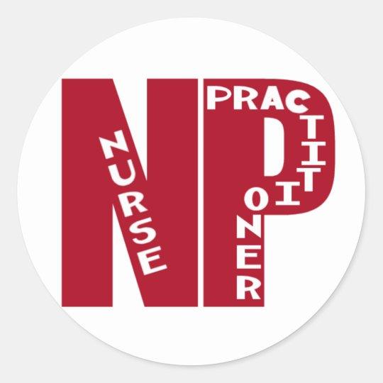 NP Big Red NURSE PRACTITIONER Classic Round Sticker