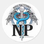 NP Blue Caduceus Classic Round Sticker