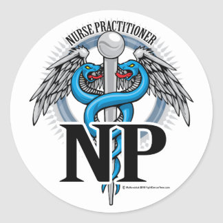 NP Blue Caduceus Classic Round Sticker