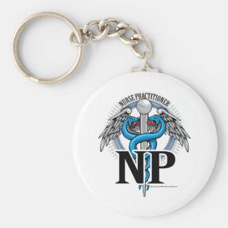 NP Blue Caduceus Keychain