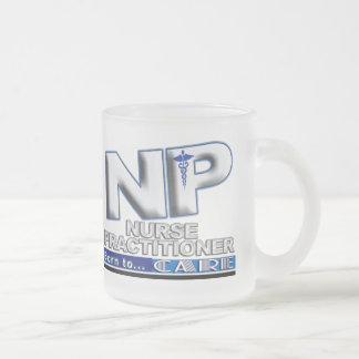 NP - BORN TO CARE SLOGAN - NURSE PRACTITIONER FROSTED GLASS COFFEE MUG