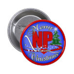 NP CHRISTMAS MERRY - NURSE PRACTITIONER 2 INCH ROUND BUTTON