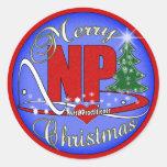 NP CHRISTMAS MERRY - NURSE PRACTITIONER CLASSIC ROUND STICKER