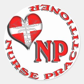 NP CIRCULAR LOGO NURSE PRACTITIONER CLASSIC ROUND STICKER