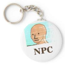 NPC MEME Fun Play Game button Keychain