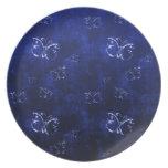 Nplate antiguo abstracto fresco del azul de las ma platos para fiestas