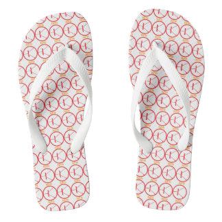NPN Transistor red-white flip flops, Wide Straps Flip Flops