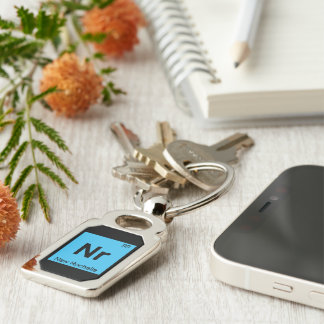Nr - New Rochelle New York Chemistry City Symbol Silver-Colored Rectangular Metal Keychain