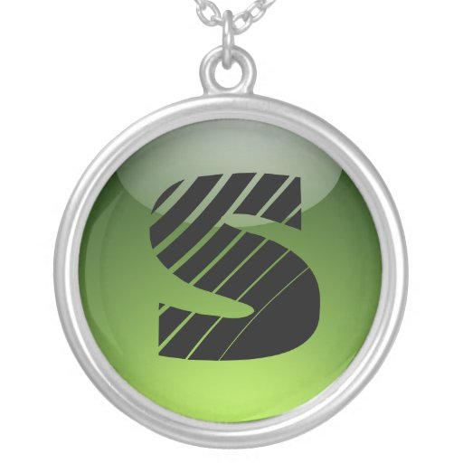 nrcklace greenglossy del monograma colgante redondo
