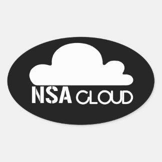 NSA en la nube Pegatina Óval Personalizadas