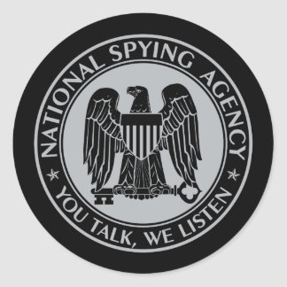 NSA: National Spying Agency Black Classic Round Sticker