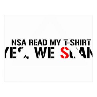NSA Read my T-Shirt Postcard