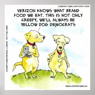 NSA Yellow Dog Democrat Funny Print