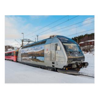 NSB El. 18 2242 electric locomotive at Dombaas Postcard