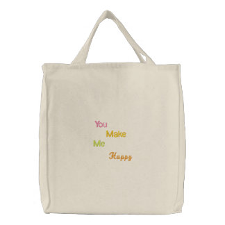 NSN You Make Me Happy Embroidered Tote Bag