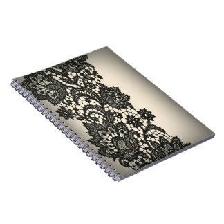 ntage black Lace beige Paris Fashion Spiral Note Book