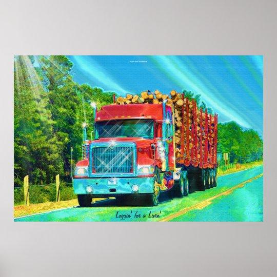 Nth American Highway Logging Truck Transport Art Poster