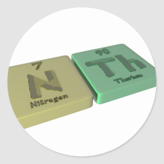 Nth as N Nitrogen and Th Thorium Classic Round Sticker
