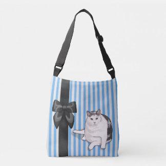 Nubbie Bow with Blue Stripe Crossbody Crossbody Bag