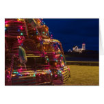 Nubble Light Decorated At Night Greeting Cards