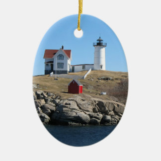 Nubble Light Double-Sided Oval Ceramic Christmas Ornament