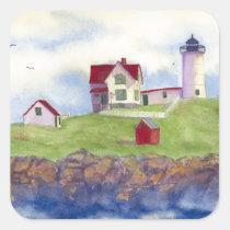 Nubble Light House York Maine Square Sticker