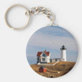 Nubble Light Lighthouse York Maine Basic Round Button Keychain