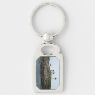 Nubble Light Silver-Colored Rectangular Metal Keychain