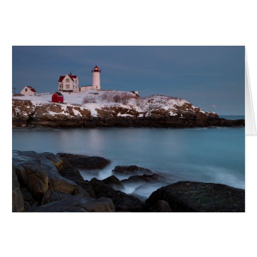 Nubble Light Snow Greeting Card