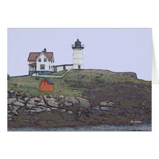 Nubble Light--thinking of you Stationery Note Card